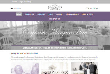 Stratford upon Avon Marquee Hire - Website by Big Clould Creative Web Design in Stratford upon Avon