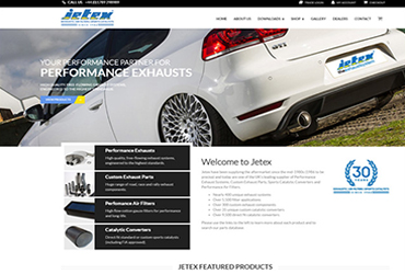 Jetex performace exhausts - Website by Big Clould Creative Web Design in Stratford upon Avon