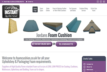 Foam Cushions - Website by Big Clould Creative Web Design in Stratford upon Avon