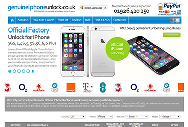 iPhone Unlock Service - Website by Big Clould Creative Web Design in Stratford upon Avon
